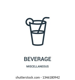 beverage icon vector from miscellaneous collection. Thin line beverage outline icon vector illustration. Linear symbol for use on web and mobile apps, logo, print media.