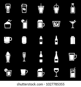 Beverage icons on black background, stock vector