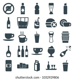 Beverage icons. set of 25 editable filled beverage icons such as vending machine, bottle, soda, drink, tea cup, milk glass, no fast food, milk, cup, wine glass