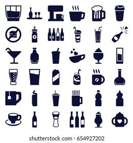 Beverage icons set. set of 36 beverage filled icons such as bottle, baby bottle, cocktail, cleanser, coffee, soda, drink, tea cup, energy drink, milk glass, milkshake