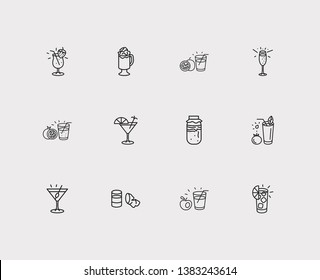 Beverage icons set. Strawberry colada and beverage icons with ginger shot, organic and martini with olive. Set of container for web app logo UI design.
