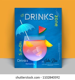 Beverage recipe book cover design with mocktail, Summer Special.