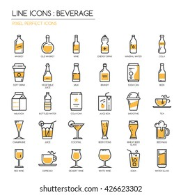 Beverage , Thin Line and Pixel Perfect Icons