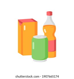 Beverage vector flat color icon. Sparkling water in glass bottle. Soda in aluminium can. Juice in package. Various soft drinks. Cartoon style clip art for mobile app. Isolated RGB illustration