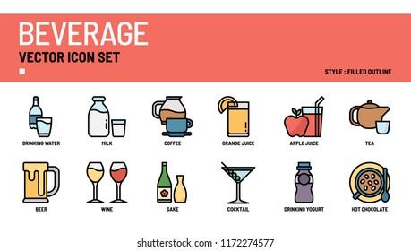 Beverage vector icon set.