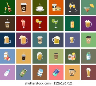 beverage Vector Icons. Champagne, Whiskey, Cocktail, Shots Icons. drinks