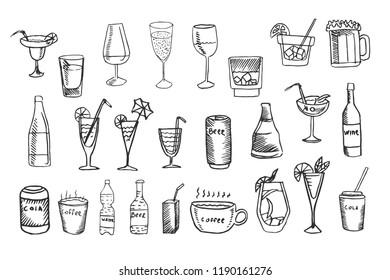 Beverage vector set, collection of cocktails, drinks sketches