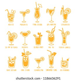 Beverages drinks silhouettes set with the names of the coctails, isolated on white background, doodles, hand drawn style. Vector illustration.