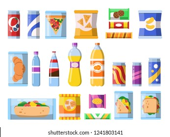 Beverages food. Plastic containers fastfood drinks and snacks candy biscuits chips vector flat illustrations isolated