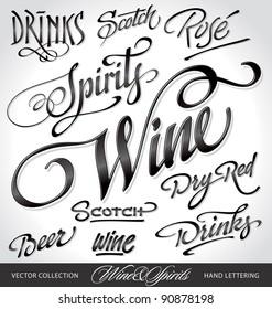 beverages headlines, hand lettering set (vector)