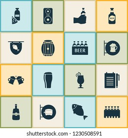 Beverages icons set with ale sign, pizza with moonshine, ale box and other tuna elements. Isolated vector illustration beverages icons.