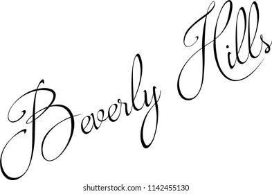 Beverly Hills, California text sign illustration on white background