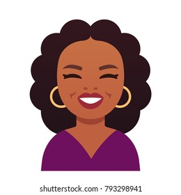 Beverly Hills, California, USA - January 14, 2018. Oprah Winfrey, celebrity American TV host. Cartoon style caricature portrait, flat vector illustration.