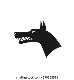Beware. Angry dog. Silhouette of a snarling dog. Vector flat illustration.