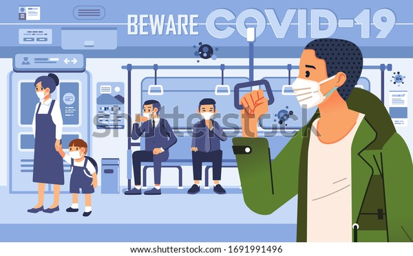 beware to covid 19 vector illustration with people in train as public transportation, social distancing and wearing mask to prevention. used for poster, landing page and other