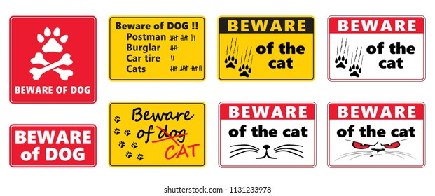 Beware of the dog sign Beware of the cat sign label vector eps love cat paws steps dog Animals footprints foot feet footsteps hound puss pussy woof meow funny fun lucky hush paws vintage death skul