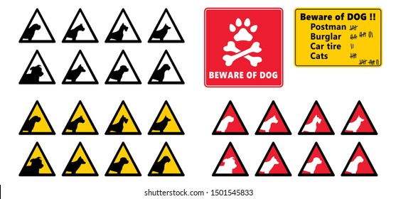 Beware of the dog Vector icon icons sign signs fun funny bite love Stop signs No Ban do not enter danger warning attention caution no entry oops hush paws death skul Animals Animal
