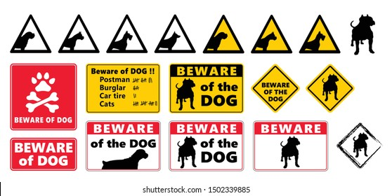 Beware of the dog Vector icon icons sign signs fun funny bite love Stop signs No Ban do not enter danger warning attention caution no entry oops hush paws death skul Animals Animal Swearing Icons