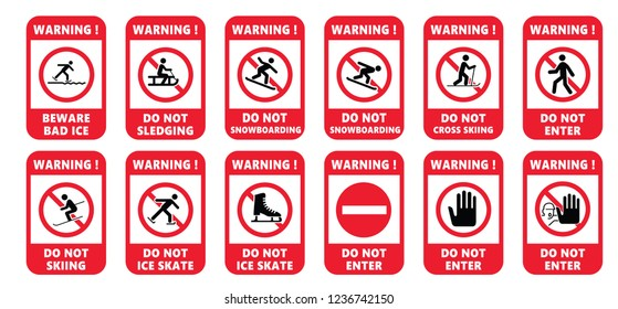 Beware No ice skate ice kating leds sled sledding rink sleigh sledge sledging sleighing Vector stop icon icons sign signs do not enter danger warning  forbid prohibition Cross country skiing Caution