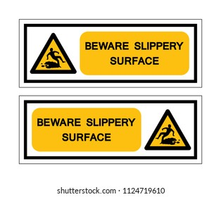Beware Slippery Surface Symbol Sign, Vector Illustration, Isolate white background Icon. EPS10