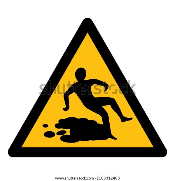 Beware Slippery Surface Symbol, Vector Illustration, Isolate white background Label. EPS10