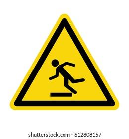 Beware uneven floor sign, symbol ,vector, illustration