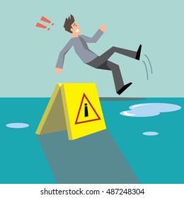 Beware your step concept;man slipping on wet floor-vector cartoon