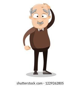 Bewildered elderly man standing and holding his head. Upset grey haired grandpa with headache cartoon animated personage. Perplexed retired man vector illustration isolated on white background.