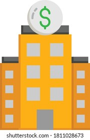 Beyond relationship lending on white background, Supertall skyscraper Financial Center Building Vector color Icon design, M&A Symbols, Bank Involvment in Merger and Acquisition Concept, Corporate fina