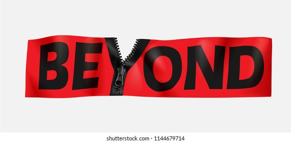 beyond slogan with zipper Y illustration