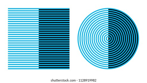 Bezold effect on square and circle optical illusion. Color combined with white appears lighter and darker, combined with black. Bezold assimilation or spreading effect. Illustration over white. Vector
