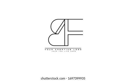 BF FB abstract vector logo monogram template