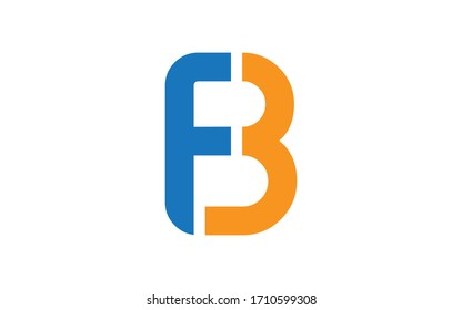 BF or FB and B, F Uppercase Letter Initial Logo Design, Vector Template