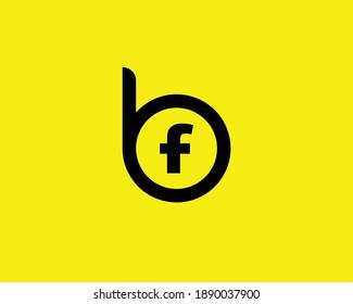 BF FB LETTER LOGO DESIGN VECTOR TEMPLATE