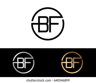 BF Logo. Letter Design Vector with Red and Black Gold Silver Colors