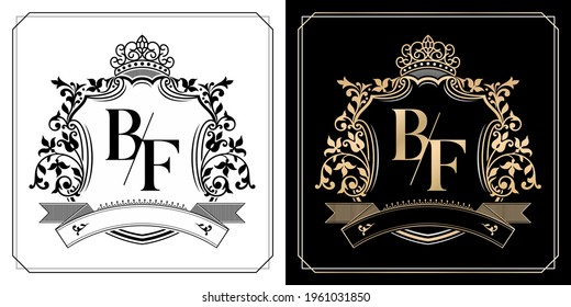 BF royal emblem with crown, initial letter and graphic name Frames Border of floral designs with two variation colors, BF Monogram, insignia, initial letter frames, wedding couple name