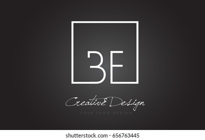 BF Square Framed Letter Logo Design Vector with Black and White Colors.