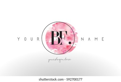 BF Watercolor Letter Logo Design with Circular Pink Brush Stroke.