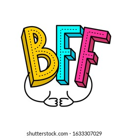 BFF - best friends forever colorful logo. With two like hands with thumbs up. Adjustable stroke width.