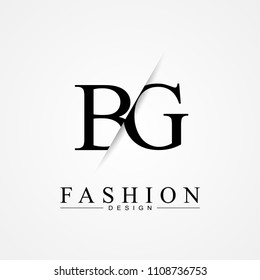 BG B G cutting and linked letter logo icon with paper cut in the middle. Creative monogram logo design. Fashion icon design template.