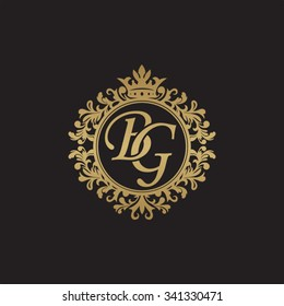 BG initial luxury ornament monogram logo