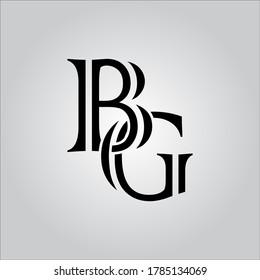 BG letter logo with nice white background.The nice black letter logo.