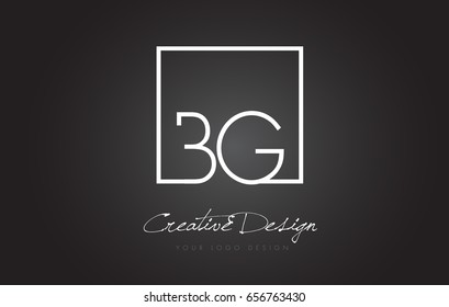 BG Square Framed Letter Logo Design Vector with Black and White Colors.