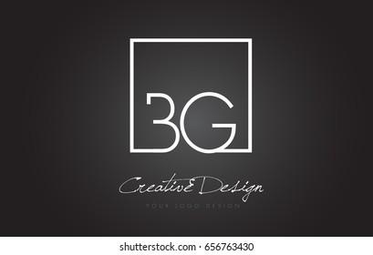 BG Square Framed Letter Logo Design Vector with Black and White Colors.