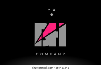 bh b h alphabet letter logo pink grey black creative company vector icon design template