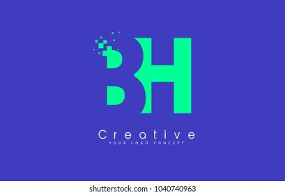 BH Letter Logo Design With Negative Space Concept in Blue and Green Colors Vector