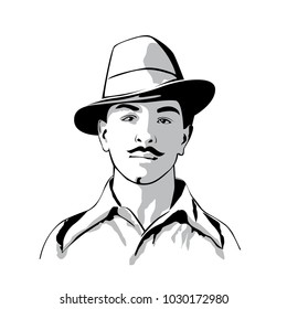 Bhagat Singh-Bhagat Singh was an Indian socialist revolutionary Nationalist-whose two acts of dramatic violence against the British in India and execution at age 23-Bhagat Singh vector image.