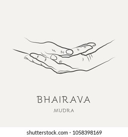 Bhairava mudra - gesture in yoga fingers. Symbol in Buddhism or Hinduism concept. Yoga technique for meditation. Promote physical and mental health. Vector illustration