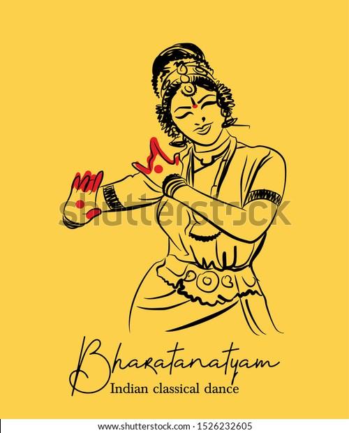 Bharathanatiyam Indian Classical Dance Form Sketch Stock Vector Royalty Free 1526232605