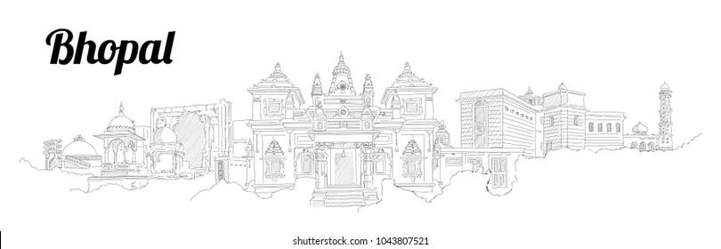 BHOPAL city vector panoramic hand drawing illustration